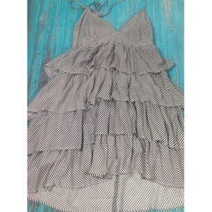 Divided H&M Ruffled Layered Pinstripe Halter Dress